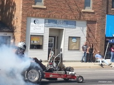 Tractor Drages in front of Church Office
