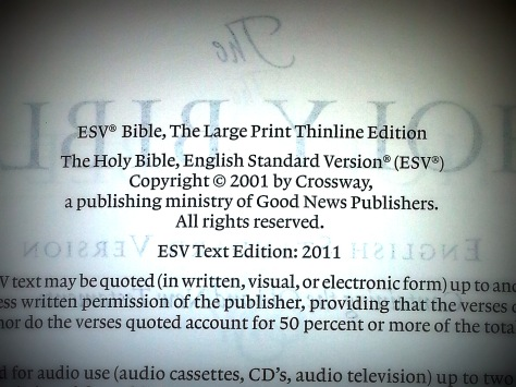 How to tell if you have 2011 ESV Bible Updated Text
