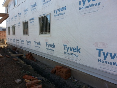 We got the first strip of siding started