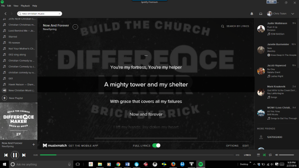 Spotify Music with scrolling Lyrics – Chris Teien