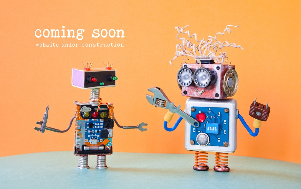 Web site under construction Coming Soon template page. Service robots maintenance with adjustable spanner screwdriver. orange background.